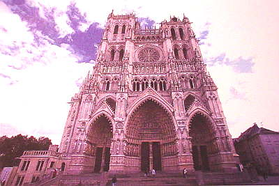 3 Point perspective-the cathedral of Notre-Dame in Amiens, France