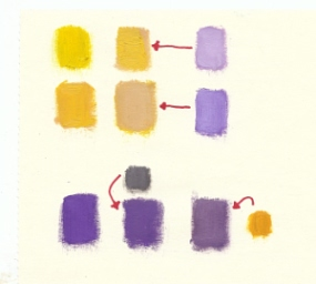 change color intensity by using complementary in yellow and purple
