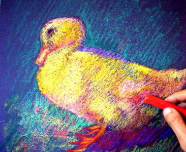 oil pastel technique demo duck 7