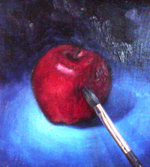 All about oil painting -red apple