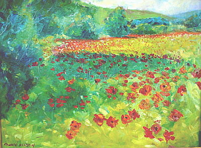 my oil painting gallery - poppy flower field
