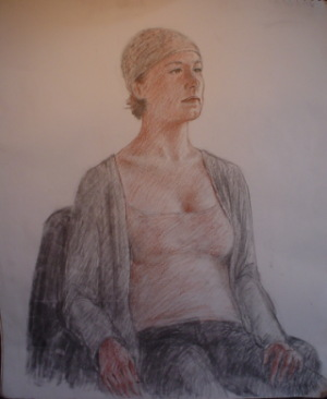 Sitting Woman in charcoal by Connie Nelson