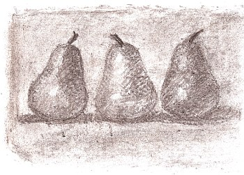 3 pears on white paper