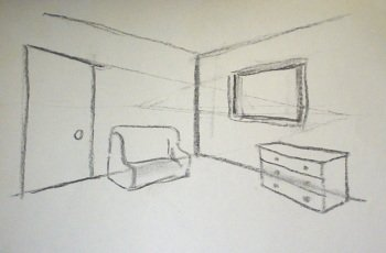 2 point perspective drawing interior