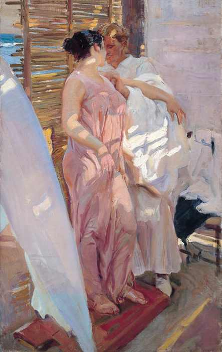 Sorolla Painting - The Pink Robe