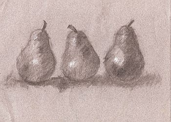 3 pears on toned paper